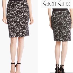 Karen Kane Skirt Black/White Lace Print Sexy Chic